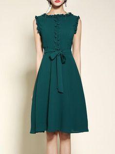 Green Crew Neck Girly Polyester Bow Midi Dress online. $122 ruffled detail, sleeveless, emerald…… - http://sorihe.com/blusademujer/2018/03/30/green-crew-neck-girly-polyester-bow-midi-dress-online-122-ruffled-detail-sleeveless-emerald-2/ #women'sblouse #blouse #ladiestops #womensshirts #topsforwomen #shirtsforwomen #ladiesblouse #blackblouse #women'sshirts #womenshirt #whiteblouse #blackshirtwomens #longtopsforwomen #long tops #women'sshirtsandblouses #cutetopsforwomen #shirtsandblouses…