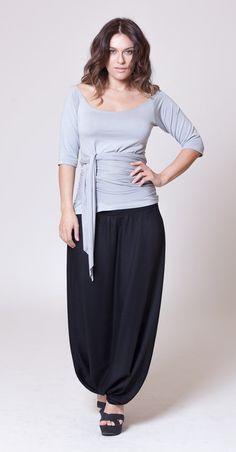 Elegant Black Cotton Harem Skirt Pants Royal Design by MichalRomem