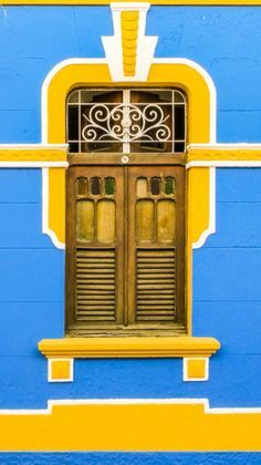 Facade of a colorful home in Olinda, Brazil