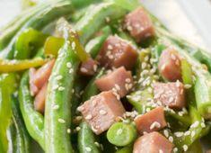 Une très bonne façon de manger ses fèves vertes avec une sauce asiatique absolument splendide! Bok Choy Sauté, Tuna, Green Beans, Potato Salad, Potatoes, Fish, Meat, Vegetables, Ethnic Recipes