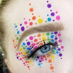 Rainbow dotted eye makeup - photos and videos from Maja Beske ( Goth Makeup, Clown Makeup, Costume Makeup, Makeup Art, Halloween Makeup, Makeup Tumblr, Makeup Remover Pads, Makeup Brushes, Creative Makeup Looks