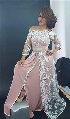 Simple Elegant Kaftan Pink Evening Dress with three quarter sleeves lace A-Line Saudi Arabic Evening Party Gown Cheap Prom Dress Moroccan Kaftan Dress, Caftan Dress, Hijab Dress, Traditional Fashion, Traditional Dresses, Arabic Dress, Prom Dresses With Sleeves, Evening Dresses, Fashion Dresses