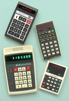 Collectible calculators: Bowman, Bohn Omnitrex, Hewlett Packard, Commodore