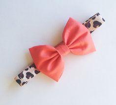 Baby Bow Headband- Coral Bow on Leopard Print Elastic