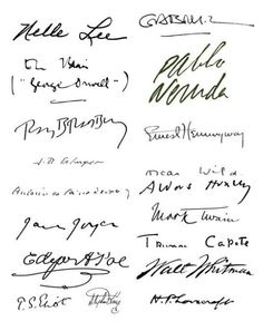 Famous Authors' Signatures | Authors, Bibliophile and Book ...