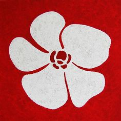 Exclusieve wanddecoratie - 17. Figurative Minimal | White flower in a red fond - O.204-2