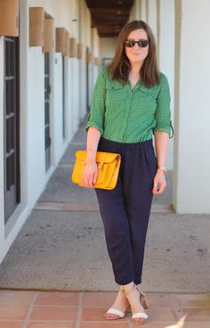 Green blouse, trousers, loose pants, yellow bag, heeled sandals