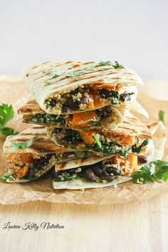 These Butternut Squash Black Bean & Quinoa Quesadillas are delicious and healthy too! #vegan