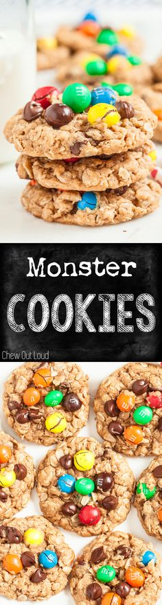 Chewy, Soft, Scrumptious! For serious cookie lovers.  #monster #cookies #M&M