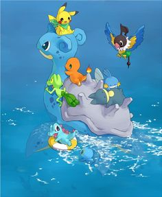 Pokémon fan art: Charmander, Pikachu, Lapras, Totodile, Treecko, Mudkip, Munchlax, Chatot