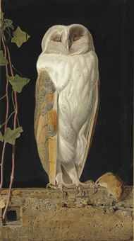 William James Webbe (fl.1853-1878)  The White Owl. 'Alone and warming his five wits, The white owl in the belfry sits'