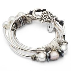 Emily Long wrap bracelet-necklace in Natural Black leather, comes as shown