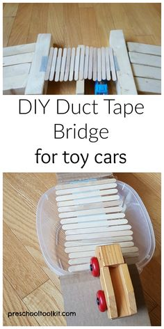 Kids can make a duct tape bridge for toy cars - Preschool Toolkit Cars Preschool, Math Activities For Kids, Train Activities, Kids Learning, Cool Science Experiments, Stem Science, Stem For Kids, Crafts For Kids To Make, Stem Projects