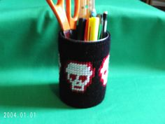 Red & White Skulls Pencil Cup Supply Caddy by SnarkyLittleStitcher, $8.00