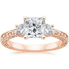 THIS.  ||   14K Rose Gold Antique Scroll Three Stone Trellis Ring (1/3 ct.tw.),