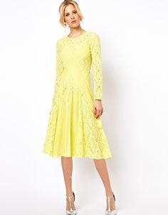 Image 4 ofASOS PETITE Exclusive Midi Dress with Lace