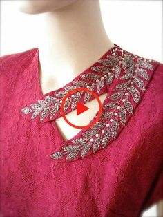 Beaded Wine Lace Gown with Matching Bow by BygonesVintageRVA Salwar Neck Designs, Neck Designs For Suits, Kurta Neck Design, Neckline Designs, Sleeves Designs For Dresses, Back Neck Designs, Kurta Designs Women, Stylish Dress Designs, Blouse Neck Designs