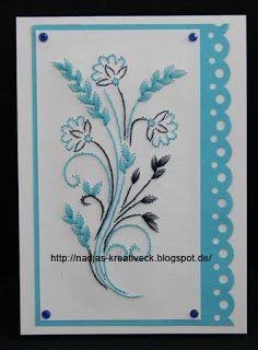 Fadengrafik Blumen in blau Kreatives Allerlei