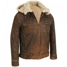 AVAITOR : ANTIQUE BROWN HOODED LEATHER JACKET FOR MEN