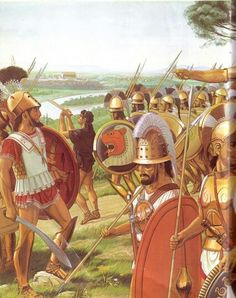 Italian warriors, some hoplites in Greek linen armour some in their distinctive Italian hill tribe armour, probably Umbrians. 5th century B.C.