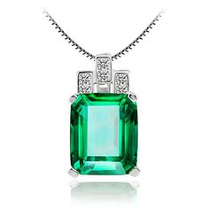 """Jewelrypalace Women's 6.45ct Created Green Nano Emerald Pendant Necklace 925 Sterling Silver, 18"""" Jewelrypalace http://www.amazon.com/dp/B012D7L678/ref=cm_sw_r_pi_dp_GY.Xwb1NYGXYZ"""