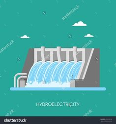 Hydro Power Plant And Factory. Hydro Energy Industrial Concept. Illustration In…