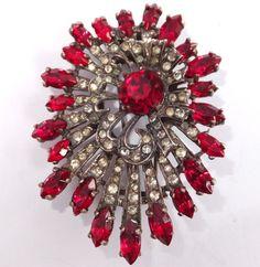 RARE Vintage Eisenberg Sterling Silver Red Crystal Rhinestone Pin Clip Brooch | eBay