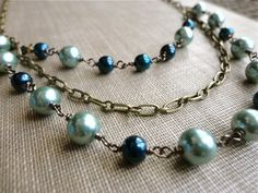 $30.00  Deep teal and sea foam blue pearl necklace, wire wrapped, multi strand, Between Sea & Sky