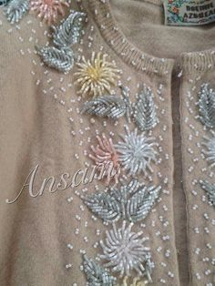 Types Of Embroidery, Beaded Embroidery, Embroidery Stitches, Crystal Beads, Crystals, Textile Design, Sewing Tutorials, Needlework, Embellishments