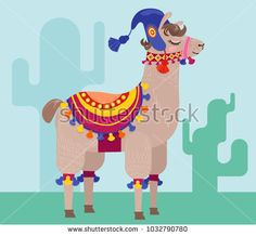 Card with a cheerful alpaca in a blanket with pompons. Vector cartoon illustration