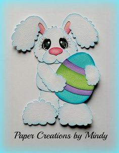 Craftecafe Mindy Easter Bunny Egg premade paper piecing for scrapbook page
