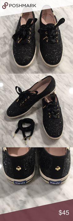 Keds for Kate Spade Black Glitter Shoes EUC. Worn only once. Includes spare cloth laces (as pictured). kate spade Shoes Sneakers