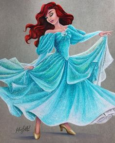 I had such a WICKED fun time doing this picture of twirling Ariel! For those asking, this is the dress she wears at the Disney parks and this picture does not do it justice It is literally one of my favorite dresses in the park ❤️❤️❤️ - Hannah Oliver Disney Princess Art, Disney Fan Art, Disney Style, Disney Love, Disney Magic, Princess Luna, Princess Bubblegum, Princesa Ariel Da Disney, Ariel Disney