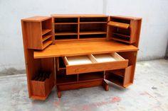 SOLD  Mid Century Modern Teak Desk Cabinet by IridiumInteriors