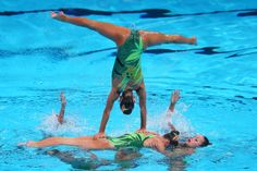 Greece compete in the Synchronized Swimming Team preliminary round on day four of the 15th FINA World Championships at Palau Sant Jordi on July 23, 2013 in Barcelona, Spain.
