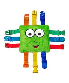 add zippers, buttons and snaps to a pillow in addition to these buckles and you have a wonderful learning toy for toddlers