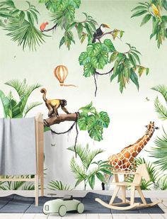 Ideen Babyzimmer Tapete Junge Best Picture For baby room decor theme For Your Taste You are looking for something, and it is going … Jungle Bedroom, Baby Bedroom, Kids Bedroom Wallpaper, Creative Labs, Creative Kids Rooms, Baby Room Colors, Nursery Neutral, Neutral Nurseries, Medan