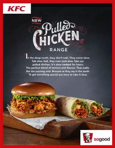 Little Black Book, Jelly's Alison Carmichael Brings Some Tasty Typography to KFC Ads. Carmichael hand-letters for KFC's Pulled Chicken Ultimate Burger print Food Poster Design, Food Design, Ui Design, Creative Design, Graphic Design, Pizza Menu Design, Food Advertising, Advertising Design, Food Promotion