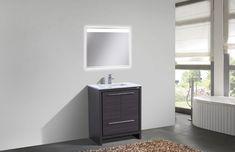 Dolce High Gloss White Modern Bathroom Vanity with White Quartz Counter-Top White Quartz Counter, White Counters, Copper Counter, Laminate Counter, Concrete Counter, White Cabinets, Grey Modern Bathrooms, Modern Baths, Single Sink Vanity