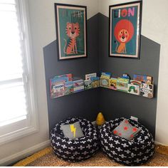 The perfect reading corner created by @littledwellings for  @househomelove perfect to snuggle up in on a Saturday night . #knitted beanbag#ladedahkids#interior-love#kids#boy#coolinteriors#