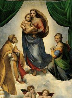 La Madone Sixtine, Raphaël  1512 Peinture