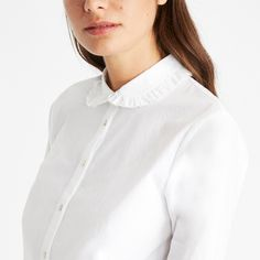 Composition: Cotton Care Instructions: Machine wash, do not tumble dry, dry cleanable Length: in size 12 Ruffle Collar Blouse, Laura Ashley, Round Collar, Peter Pan, Chef Jackets, Cotton, Fashion, Moda, Fashion Styles