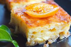 Orange cake with baked pastry and yoghurt. Juicy and fluffy, with a strong flavor of orange and syrupy as much as required to keep it juic. Portokalopita Recipe, Cheesecake Recipes, Dessert Recipes, Baklava Cheesecake, Sweet Desserts, Pastry Recipes, Cooking Recipes, Greek Cake, Eat Greek