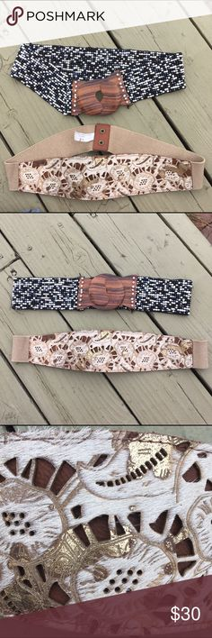 Super cute anthropology belts Super cute anthropology belts. Barely worn, and in great condition. The top one is beaded and stretchy with a really cute wooden clasp. The bottom one has a chic leather fur design, and an elastic band and snap in the back. Anthropologie Accessories Belts