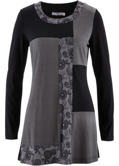 Longshirt, bpc bonprix collection, rookgrijs/zwart