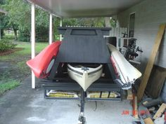I've got a utility trailer that I've converted temporarily to a kayak trailer. Temporarily because I need my Trailer back LOL. Kayak Camping, Canoe And Kayak, Kayak Fishing, Fishing Stuff, Kayaking Outfit, Kayaking Tips, Kayak Trailer, Camping Trailers, Trailer Plans