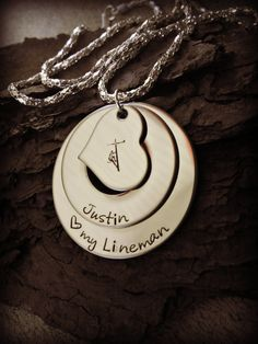 Love my Lineman Hand Stamped Necklace by CharmletteDesigns on Etsy, $34.00