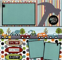 "Cute Boys ""Daddy's Little Helper"" Construction Scrapbook Layout...love the papers and the hammer!"