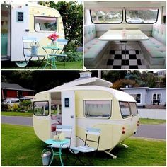 cutest oval shape caravan trailer you have ever seen, love the vintage yellow and white