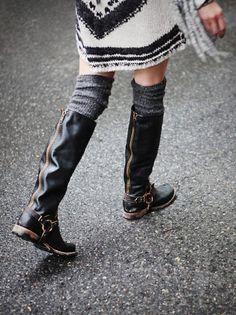 Moto boots + knee high knit socks